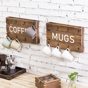 MyGift Set of 2 Wall Mounted 8 Hook Burnt Brown Wood COFFEE and MUGS Cup Racks