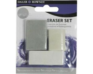 Daler Rowney Simply Pencil Eraser Assorted Set of 3 Plastic Putty Gum GBP 3.95