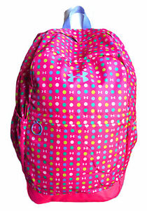 UNDER ARMOUR Pink Polka Dot Full Size Backpack Back To School Kids Gym Workout $14.99