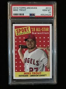 2019 Topps Archives Mike Trout All Star Selection Sport Magazine PSA 10 Low Pop