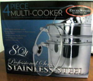 8 QT Multi-Cooker 4 Pc SET Stainless Steel Steamer Stock Pot Stew Soups Pasta