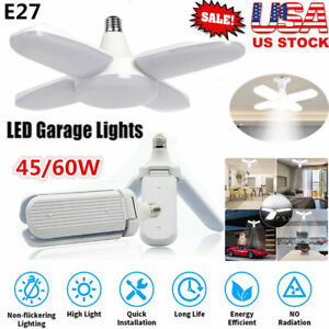 E27 LED Bulb Bright Foldable Deformable Garage Lights Fan Blade Ceiling Lamps US