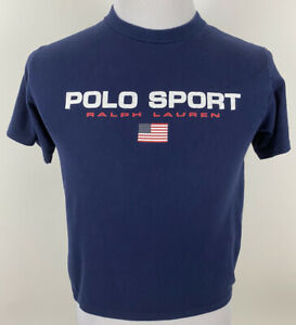 Polo Sport Ralph Lauren Vintage Spell Out USA Flag T Shirt Tee Size S Navy Blue $27.97