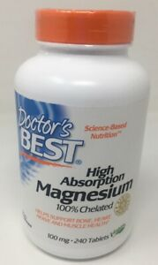 Doctor's Best High Absorption Magnesium Tablets, 100 Mg, 240 Ct 1 22 Mi