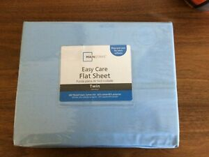 Mainstays Easy Care Twin Flat Sheet 60% cotton 200 thread, 40% Polyest Blue NEW