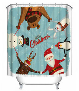 Christmas Friends Fabric Shower Curtain Merry Holiday Santa Snowman Penguin