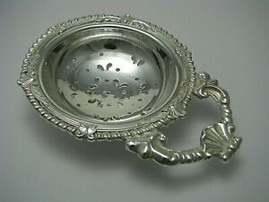 SILVER PLATED TEA STRAINER LEMON STRAINER SERVING SIFTER England ca1900s Rare