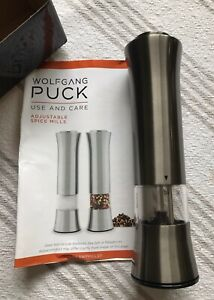 NEW Wolfgang Puck Adjustable Spice Mill Automatic W/ Paperwork Original Box