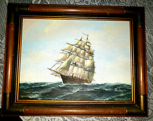 Vintage Ambrose Signed Oil Paintings Canvas Sailing Ship Sea Art Frame Nautical $280.00