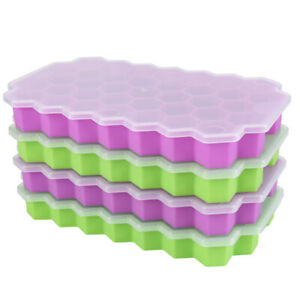 2-Pack 74 Case Flexible Silicone ICE Cube Trays Maker Mold Cocktails Whiskey