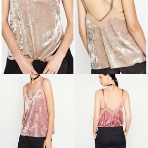 Zara Crushed Velvet Cami Top Bundle X2 Champagne Pink Size Small 8-10