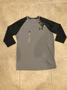 🔥NWT UNDER ARMOUR RIDGE REAPER 3 4 SLEEVE GRAY CAMO T SHIRT MENS SZ M 1300298 $29.95