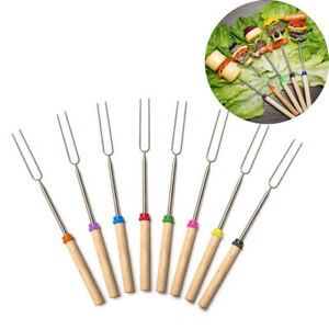 Telescoping BBQ Fork Sticks Marshmallow Hot Dog Smore Skewers Stainless Steel