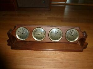 Wood 4 Time Zone Wall Desk Clock France USA