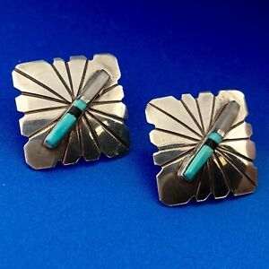 Navajo Artisan F Barney 925 Sterling Silver Turquoise MOP Lapis Concho Earrings $85.00
