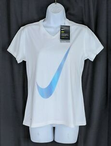 NWT! Nike Dri Fit Girls Size XL Swoosh Check Logo V Neck S S Stretch Shirt $16.95