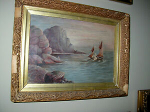 ANTIQUE SIGNED OIL ON CANVAS SAIL BOAT $225.00