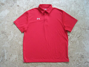 UNDER ARMOUR LOOSE Red S S Polo Shirt for Golf Casual Wear Men's Size Medium $4.99