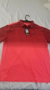 Under Armour Playoff Polo 2.0 PGA Tiger 1327037 Red Pink Stripe Mens Size Large $29.99