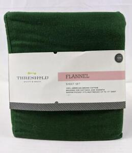 Threshold Flannel Sheet Set Twin Deep Green 3 Pc Brushed Cotton