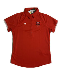 NWT Under Armour Women Size M Red Golf Polo Short Sleeve $17.09