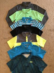 Lot of 7 Boy's Under Armour Heat Gear Loose Polo Shirts Size XL $69.99
