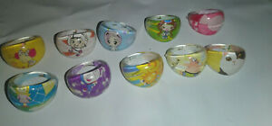 Lot of 10 Anime / Cartoon Character Girls/Kids Dome Quality Rings - Party Favors