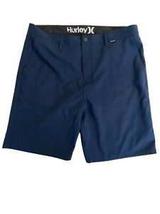 Hurley Nike Dri Fit Chino Golf Flat Front Shorts Navy Blue Men's Size 36 Stretch $19.99
