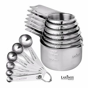 13 Piece Measuring Cups And Spoons Set Sturdy and Stainless Steel measuring set $34.49