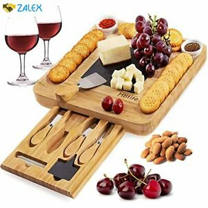 Natural Bamboo Cheese Board amp; Cutlery Set with Slide Out Drawer and KnifeCharcu