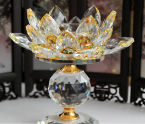 2x Crystal Lotus Flower Candle Holder Tealights Holder For Home Yellow ( 1 pair)