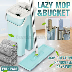 Flat Squeeze Mop And Bucket Free Hand Washing Self Cleaning Microfiber Mop D !