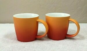Pair of Root7 Mugs Coffee Cups Ombre Style Magma/Orange Color Retro Look