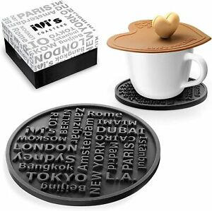 Premium Silicone Coasters for Drinks Set of 6 Large Size Non Slip Cup Lid