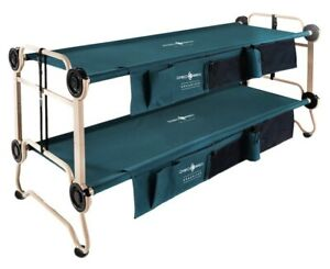 Disc-O-Bed Large (BLACK) Camping Double Cot with Organizers Portable Bunk Beds