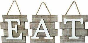 Shabby Chic Country Farmhouse quot;Eatquot; 24 x 8 Inch Wooden Sign