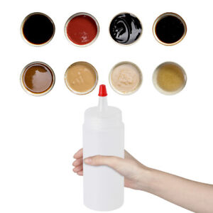 6PC Squeeze Bottles Squirt Condiment Cap Lids Containers for Mustard Hot Sauces
