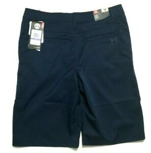 Boys Under Armour Bermudas Golf Shorts Loose Fit Youth size 18 Navy Blue $22.88
