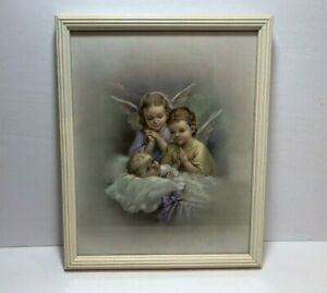 Vintage Lithograph Print Guardian Angels Watching Baby Framed Under Glass $8.99