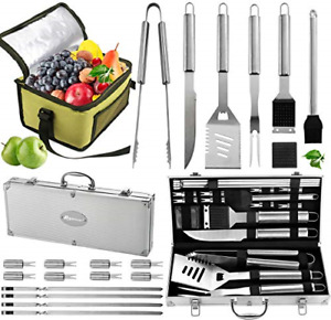 ROMANTICIST 20pc Complete Grill Accessories Kit with Cooler Bag The Very Best