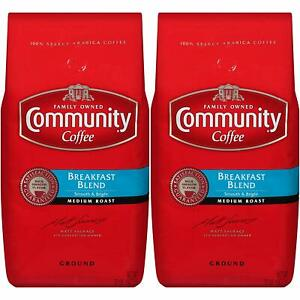 Community Coffee Breakfast Blend Medium Roast,Premium Ground,32 Ounces(Pack of 2