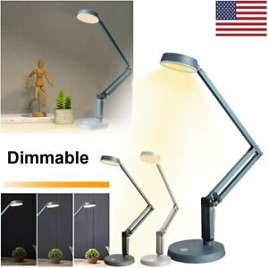LED Dimmable Table Desk Lamp Swing Arm Adjustable Touch Control Reading Light
