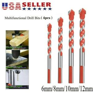4pcs/set Multifunctional Drill Bit Ceramic Glass Punching Hole Working 6mm-12mm
