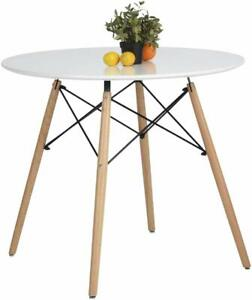 New Mid Century Style 31quot; Round White Table Beech Wood Table