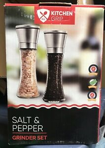 Salt And Pepper Shakers Grinder Set Of Stainless Steel Top,6 Oz Glass Tall Body