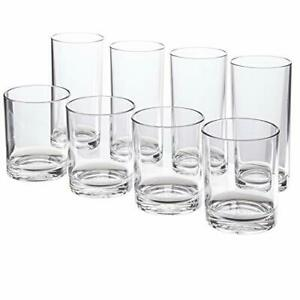 Premium Quality Plastic Tumblers 4 Each 12 Ounce And 16 Ounce Clear 8 Pieces New