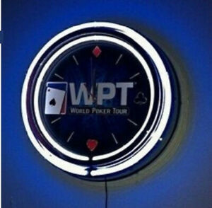 WPT WORLD POKER TOUR DOUBLE NEON CLOCK ***VERY RARE*** BRAND NEW IN PACKAGE***