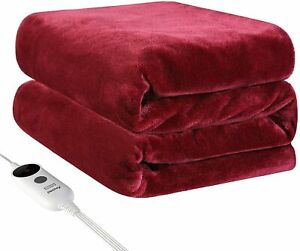 Electric Heated Plush Throw Blanket Fast Heating Pain Relief 50x60 In w Remote
