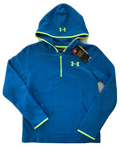 Under Armour Boys Coldgear Storm Loose 1 4 Zip Hoodie Blue 1299384 899 S L $29.00
