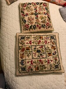 Vintage Embroidered Floral Throw pillows set of 2